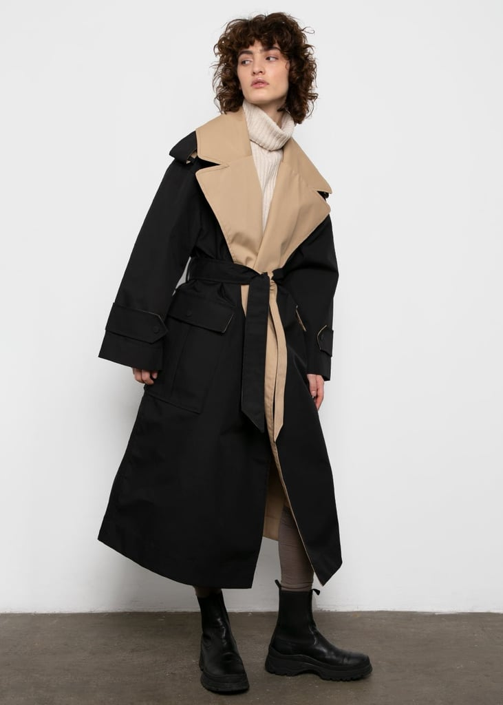 Ganni Two Tone Trench Coat in Black & Beige