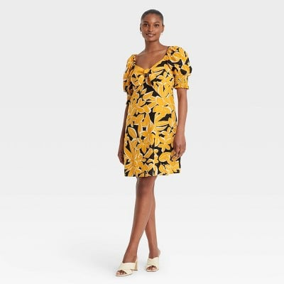 Who What Wear Puff Elbow Sleeve Dress
