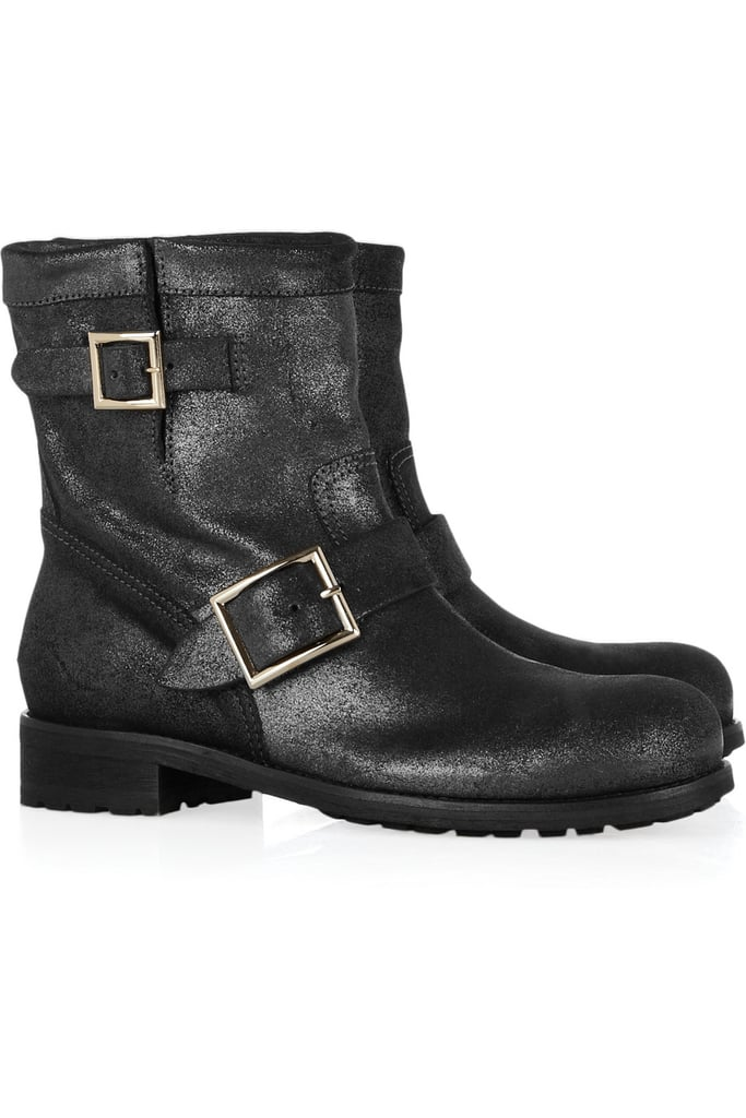 """For running around town — ditch the heel, seriously! Rock it out biker style and if you are running late you can actually run without a potentially broken leg! I love these babies by Choo."" — Behati Prinsloo  Jimmy Choo Biker Boots ($895)"