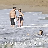 Ben Affleck and Jennifer Garner hung out in the ocean together with daughters Seraphina and Violet.