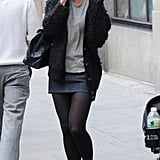 Katie Holmes talked on her phone in NYC.