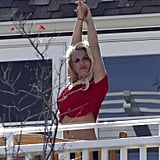 Britney Spears stretched on Cinco de Mayo.