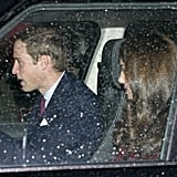 Kate Middleton was driven to Buckingham Palace by her husband Prince William.