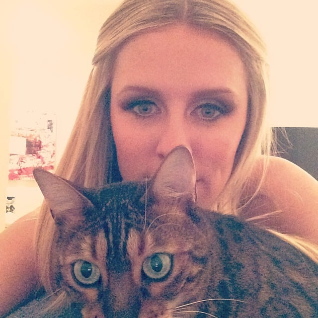 Nicky Hilton cuddled with her cat. Source: Instagram user nickyhilton