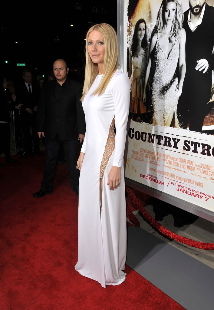 At first glance, Gwyneth Paltrow's Country Strong LA premiere dress is conservative for the leading lady, but the side cutout ups the sex appeal of this Pucci number. She was joined by her costars including Tim McGraw, who joined the actress at her Walk of Fame star ceremony yesterday. She shows off her pipes on the big screen in this movie, and she's also set to belt it out on Glee again after an awesome guest-starring spot earlier this season. Gwyneth is also the InStyle January cover girl, and in the interview she shared about just how much she loves spending the holiday season with her family. Stay tuned for more from this evening's red carpet including Leighton Meester, who recently stripped down for her own magazine spread.