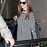 Anne Hathaway sported a choker with her maxi dress.