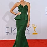 From its perfectly contoured bodice to its elegant trumpet skirt, when we spotted Allison walking the 2012 Emmys red carpet in this emerald Oscar de la Renta confection, we were green with envy.