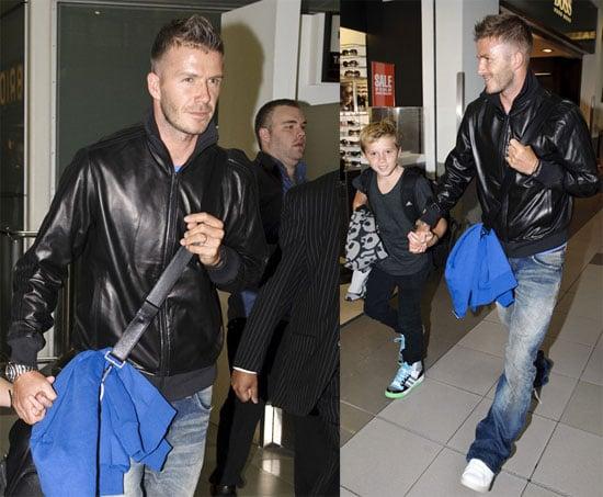 Photos of David Beckham and Brooklyn at Heathrow