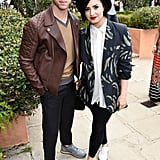 Nick Jonas and Demi Lovato hung out away from the crowd.