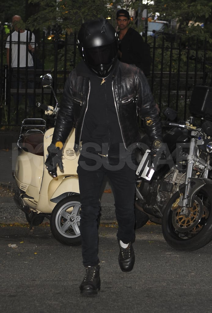 Justin Theroux in motorcycle gear.