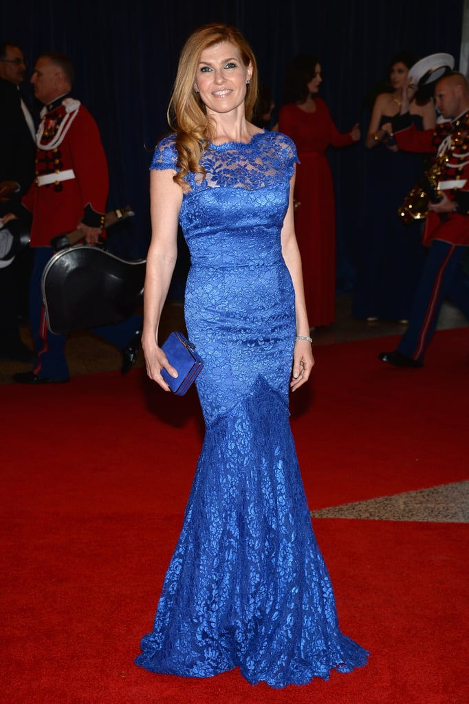 Connie Britton opted for a bold cobalt-blue lace Temperley London gown, Kwiat sapphire and diamond jewels, and a coordinating clutch.