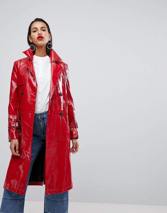 Neon Rose Oversized Trench Jacket in High Shine Vinyl