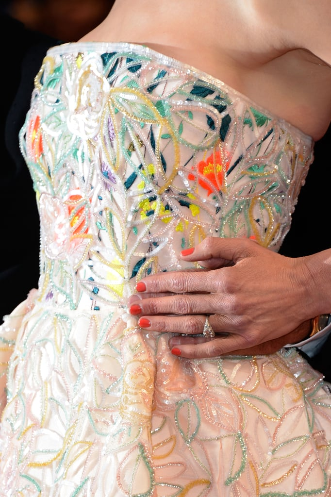 Up close, the Dior frock delighted with embroidery and beading.