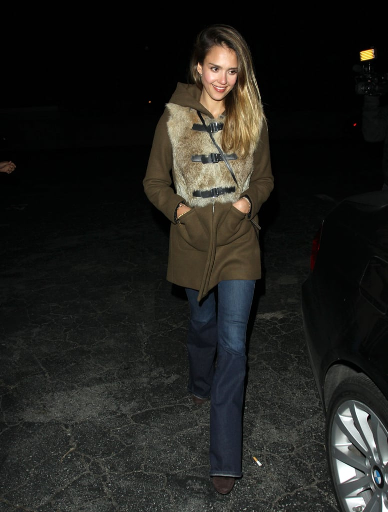 Jessica proved the power of a statement coat, amping up her late-night look with a fur-trimmed Sandro topper in Beverly Hills.