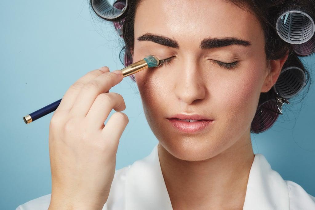 Use loose powder as an alternative to false lashes.