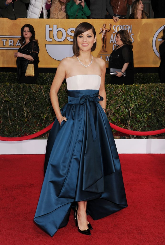 Marion Cotillard in Blue and White Dior Gown