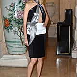 Karolina Kurkova wore a chest-baring dress to the CR Fashion Book Issue 2 launch party.