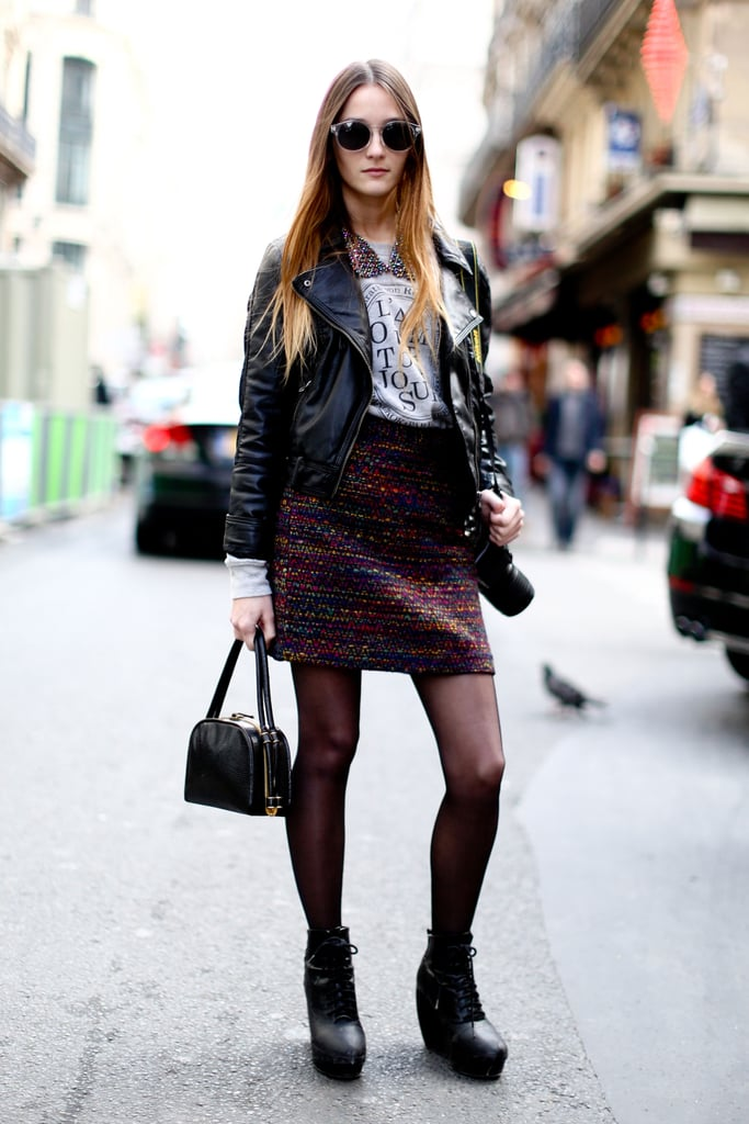A very Parisian mix of tweed, leather, and quirky-glam shades.