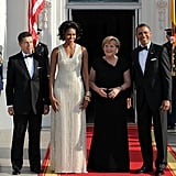 The Obamas Host Germany's Angela Merkel For a Warm Evening Dinner at Their Place