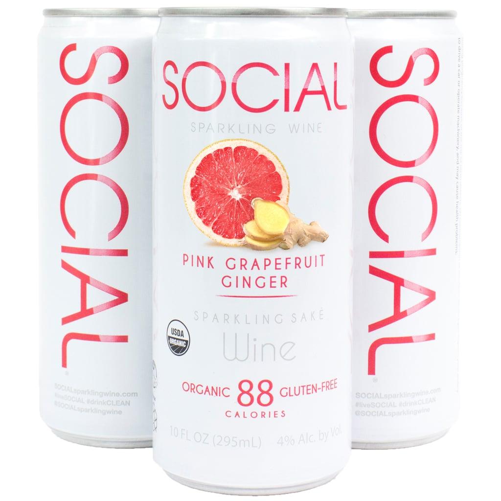 Social Sparkling Wine Pink Grapefruit Ginger Four-Pack