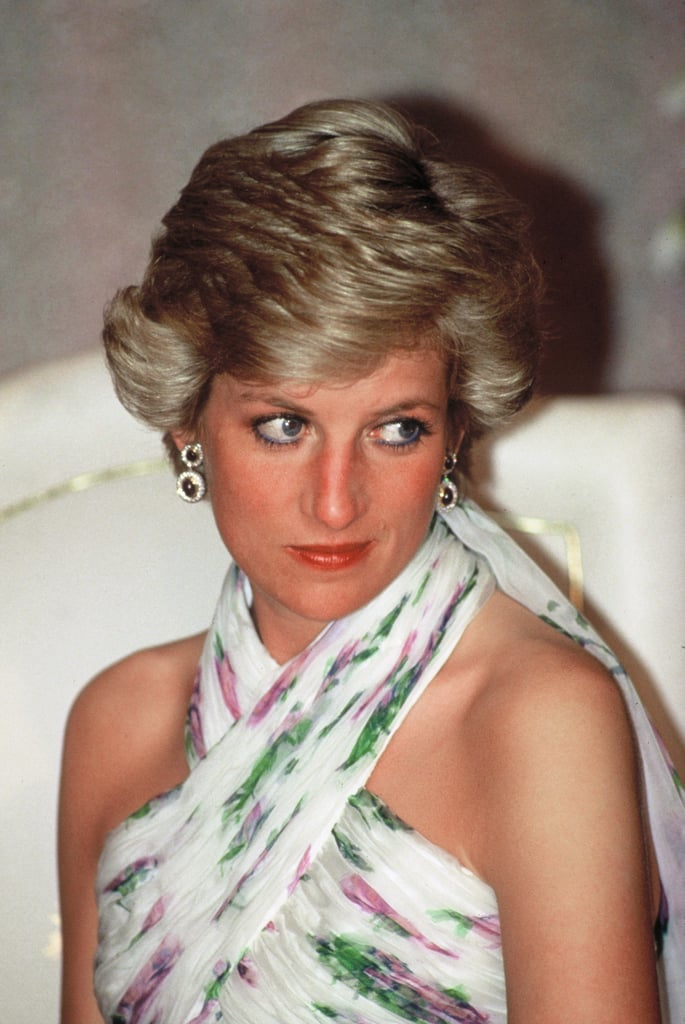 Princess Diana Wearing Blue Eyeliner in 1990