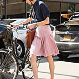 A Knee-Length Skirt and Oxfords For a Smooth Ride