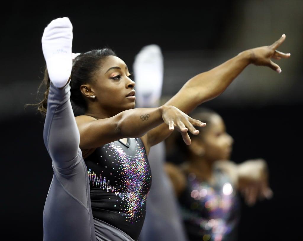 Simone Biles Training New Gymnastics Skills at Worlds 2019