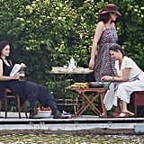 Katie Holmes got ready to shoot a scene with two other actresses on set.