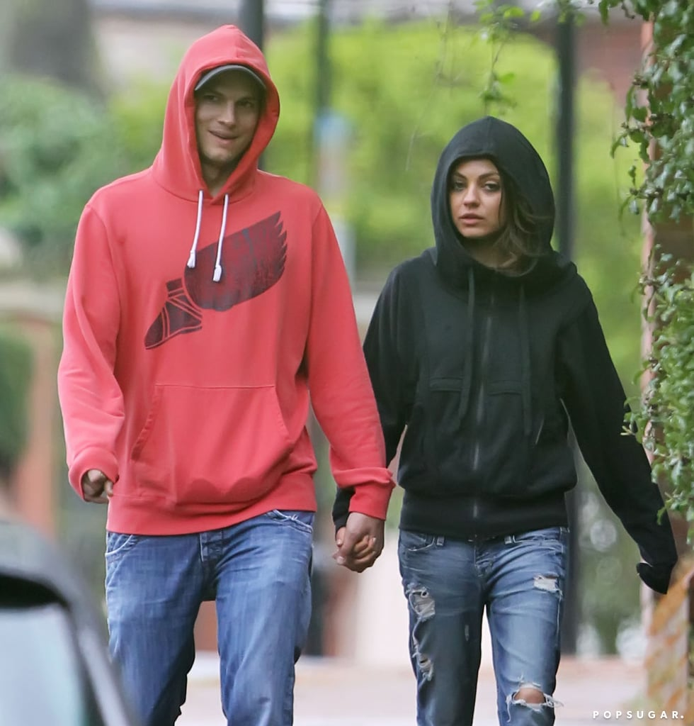 Ashton Kutcher and Mila Kunis wore hooded sweatshirts for an outing in London.