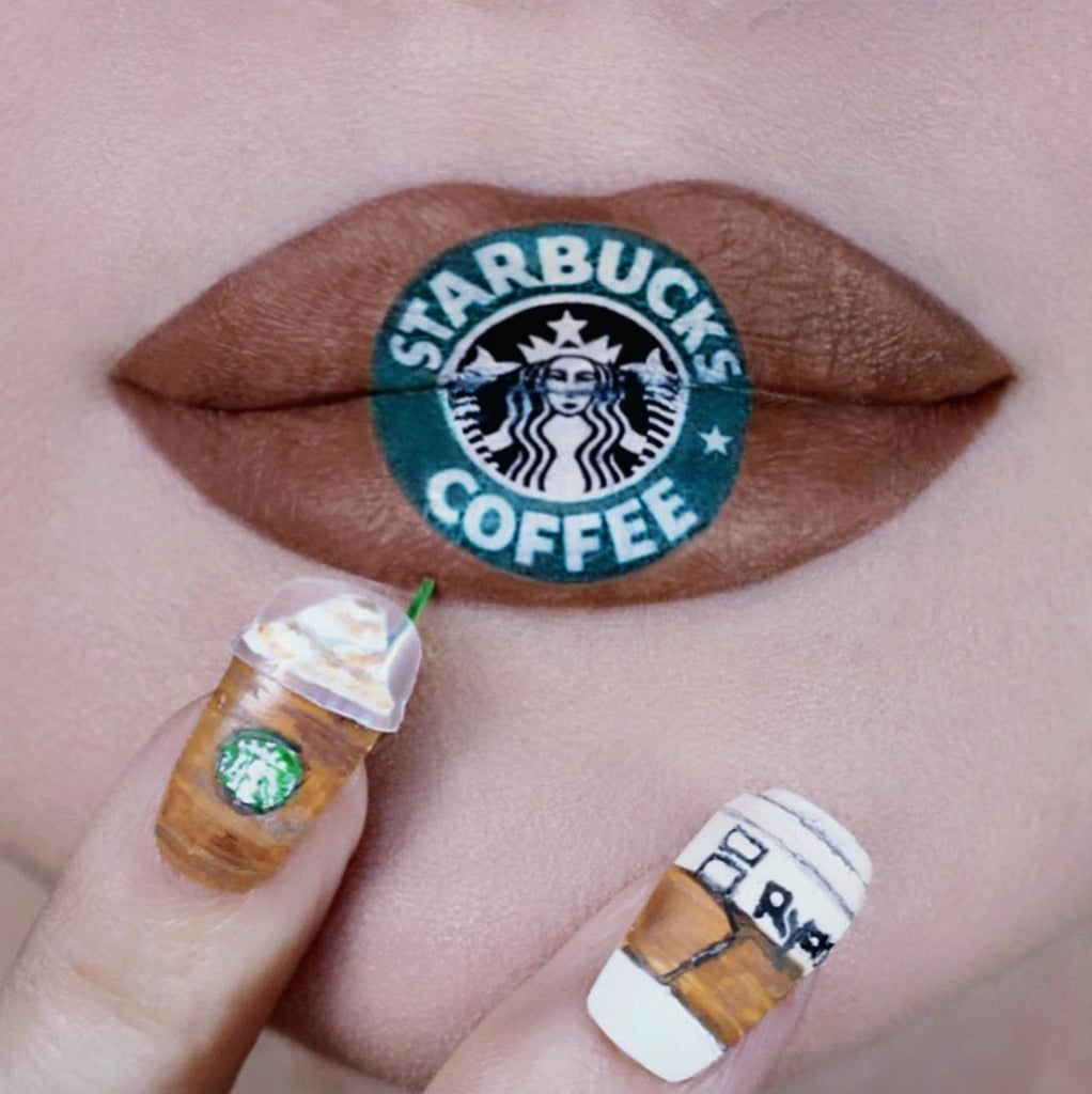 Makeup Artist Ryan Kelly's Starbucks Lip and Nail Art 2019