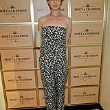 Elettra Wiedemann arrived at the US Open's Moët & Chandon suite for the tournament's opening night in a strapless jumpsuit.
