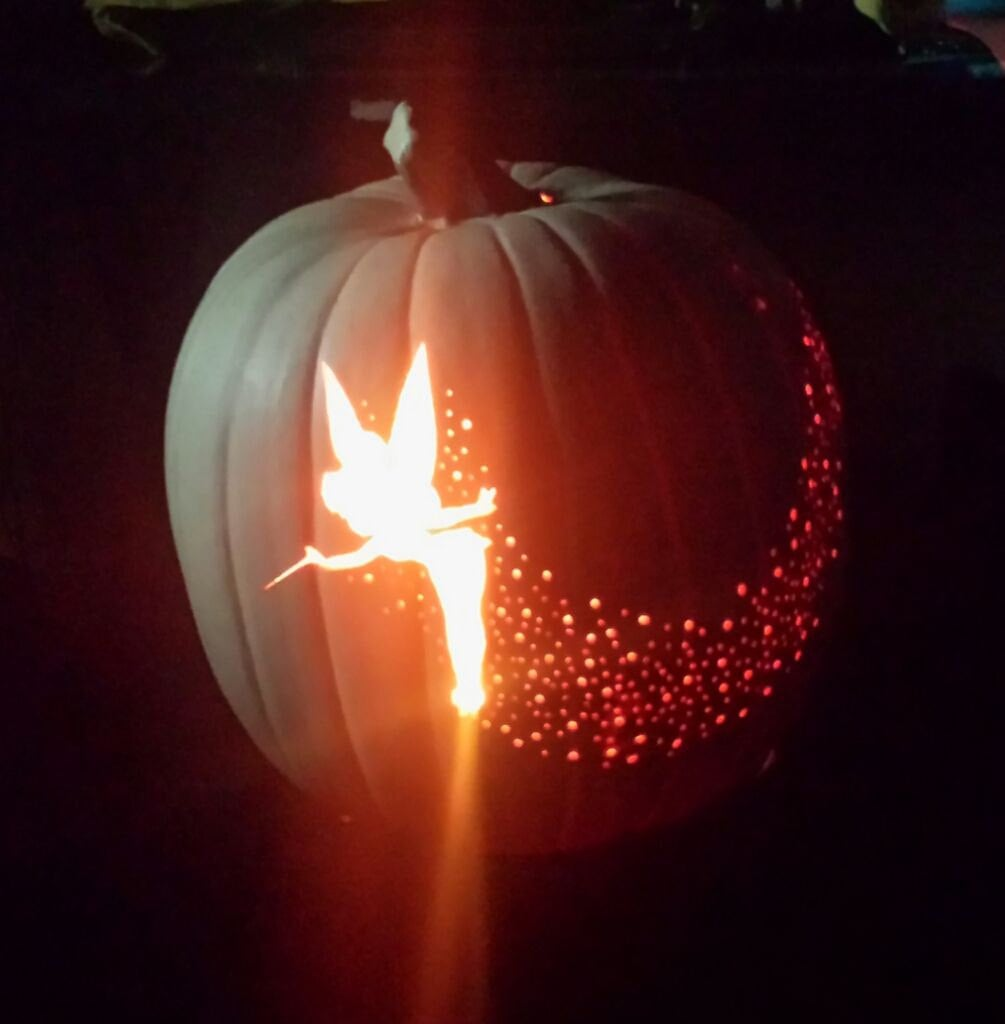 Sprinkle some fairy dust across the surface of this  foam Tinker Bell pumpkin.