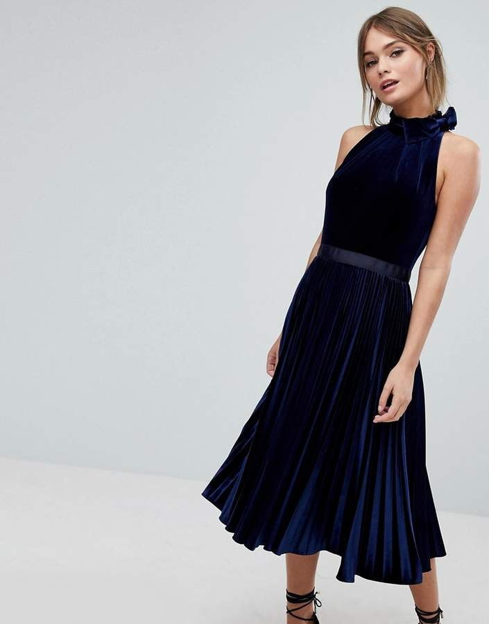 Ted Baker Pleated Midi Dress in Velvet