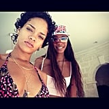 Rihanna shared a snap with her BFF while at home in Barbados. Source: Instagram user badgalriri