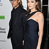 Angelina wore a Romona Keveza gown.