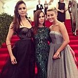 Monique Lhuillier was flanked by gorgeous red-carpet fixtures Nina Dobrev and Julianne Hough. Source: Instagram user moniquelhuillier