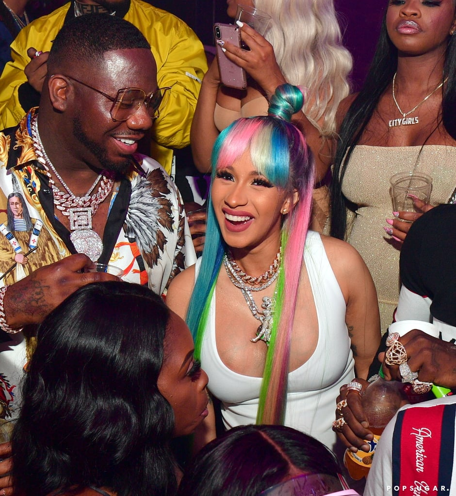 "Cardi B may be due next month, but she certainly isn't letting her pregnancy slow her down. On Wednesday night, the rapper let loose at Quality Control Music CEO Pierre ""Pee"" Thomas's birthday party in Atlanta. The mom-to-be was joined by her fiancé, rapper Offset, and appeared to have a blast as she danced inside the Gold Room nightclub and showed off her rainbow hair. Prior to heading out, Cardi shared a photo of herself on Instagram, captioning it, ""Big Momma.""  After much speculation, the 25-year-old rapper confirmed she was expecting her first child during her Saturday Night Live performance back in April. A month later, Cardi accidentally let it slip that she's having a baby girl. Cardi has also been documenting her pregnancy on Instagram, saying she's so ""over it,"" so that could be the reason for her night out. Regardless, she still deserves to have some fun, right?      Related:                                                                                                           16 Hilarious Cardi B Moments That Will Have You Screaming, ""Eeeeooowww!"""