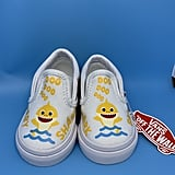 Yellow Baby Shark Custom Vans Slip-Ons