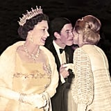 Queen Elizabeth II brought son Charles along for a film premiere in 1969. He was photographed greeting the Duchess of Kent on the red carpet.