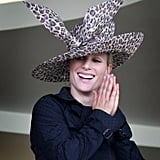 Zara chose wide-brimmed leopard print for Ascot 2007.