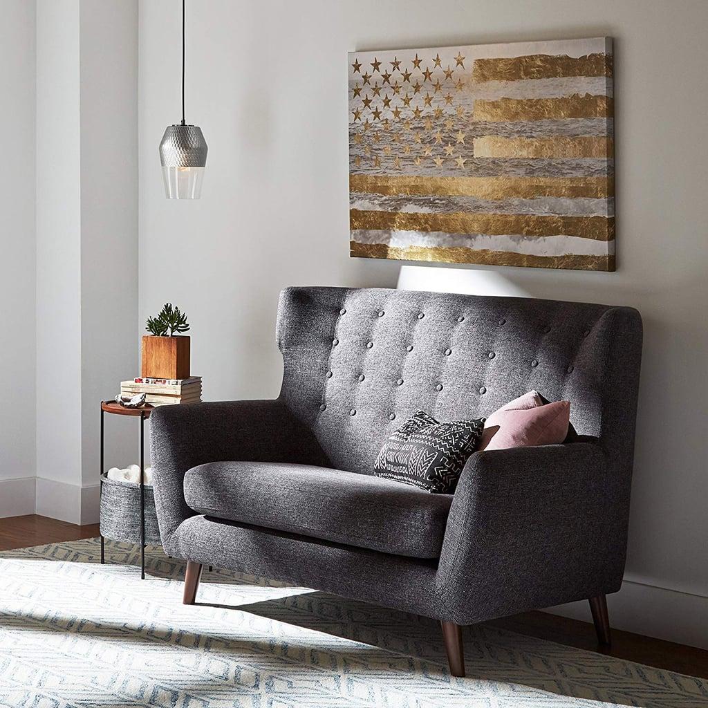 Rivet Hawthorne Mid-Century Tufted Modern Loveseat Settee Sofa