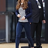 Kate even makes the shirt works for public events, adding a blazer and wedges to the laid-back look.