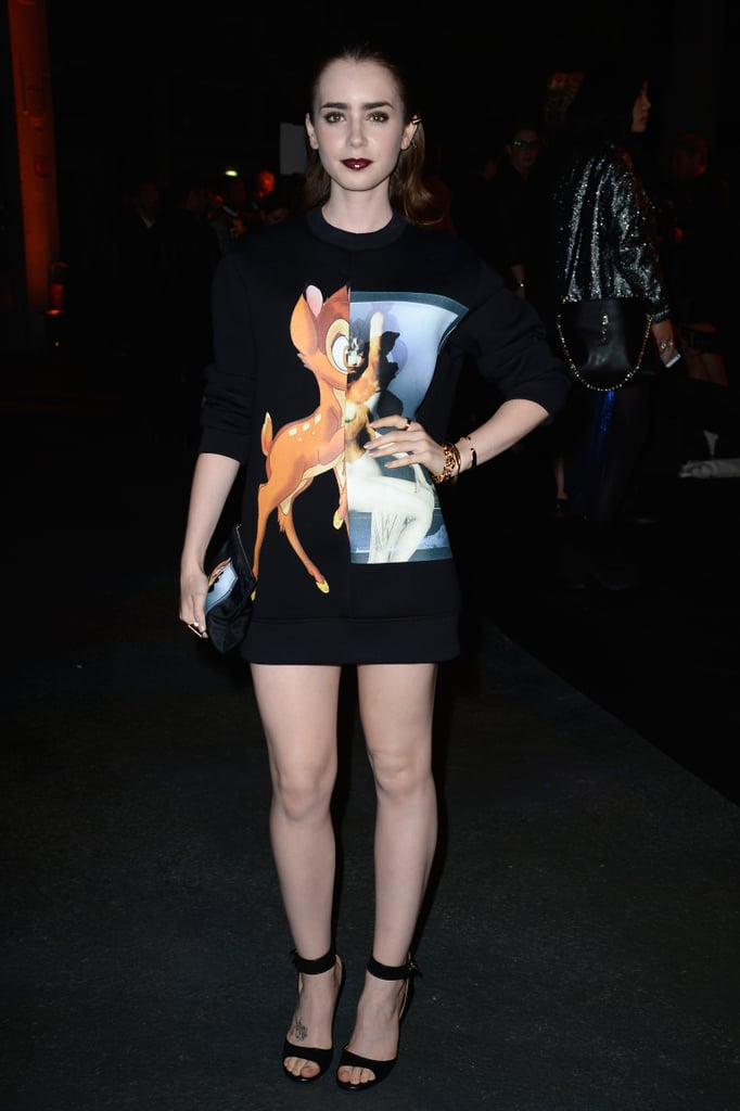 Lily Collins got playful in a Bambi sweatshirt at the Givenchy show, but kept things entirely sexy on bottom in a miniskirt.