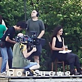Katie Holmes sat on set in Kent, CT.