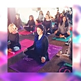Vanessa Hudgens started her morning off with yoga and meditation.