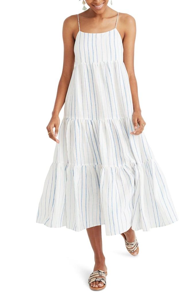 c5af10fd830658 Madewell Stripe Tiered Linen Midi Dress   Chic Summer Dresses ...
