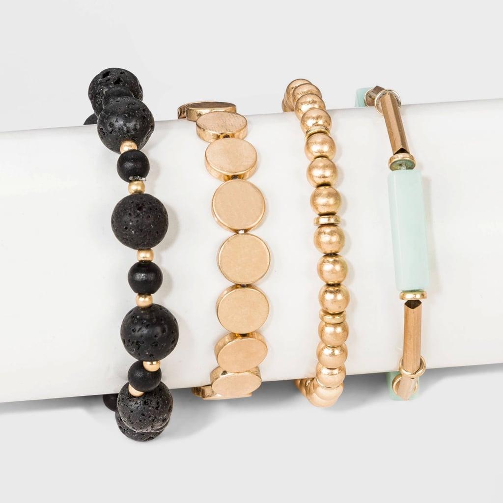Semi-Precious Mixed Beaded Stretch Bracelet Set