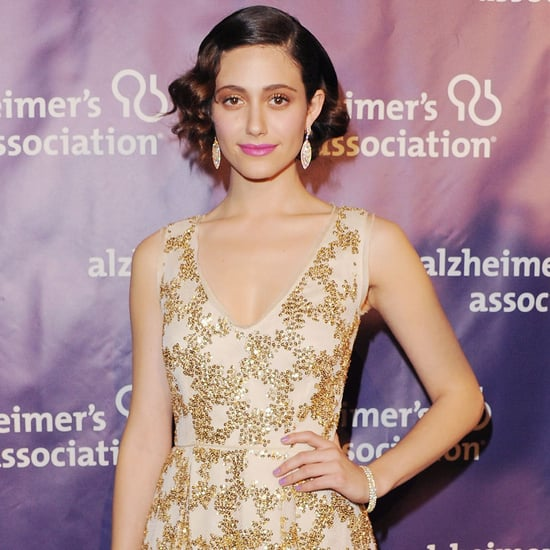 Emmy Rossum in Gold Tory Burch Dress | Pictures