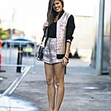This attendee gave us a lesson in metallics for day in the form of a chic jacket and shorts combo. Source: Le 21ème   Adam Katz Sinding
