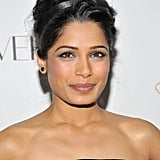 Freida added a black silk headband to her style at the Cosmopolitan Fun Fearless Men and Women of 2012 event. Her typical smudged eyeliner was more concentrated for a graphite-toned look.